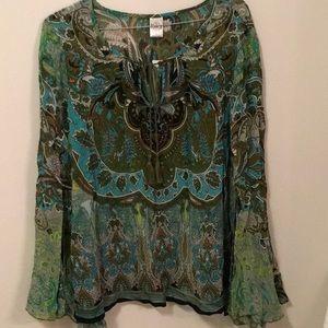 NWT Bila boho style blouse trumpet sleeve L